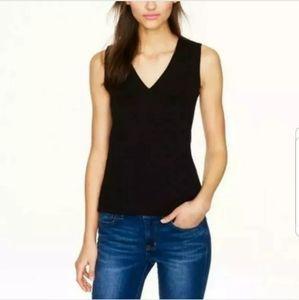 J. Crew structured black v neck back zip blouse